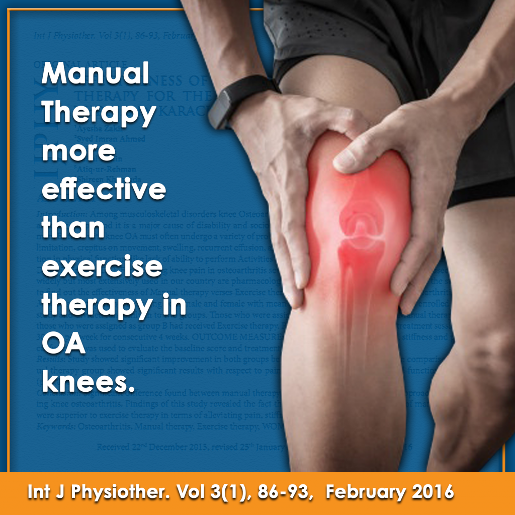 Manual therapy more effective than exercise therapy in osteoarthritis knees infographic