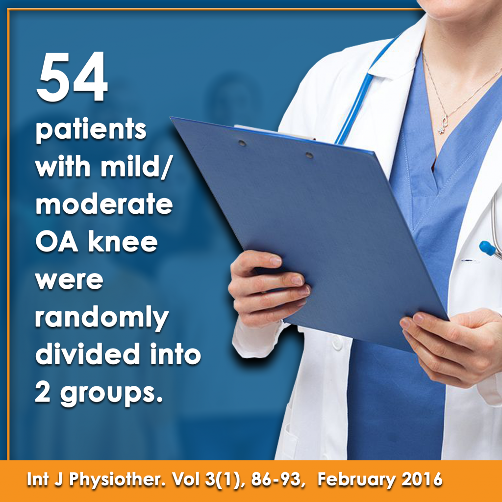 54 patients with mild to moderate osteoarthritis knees were randomly divided into 2 groups factsheet