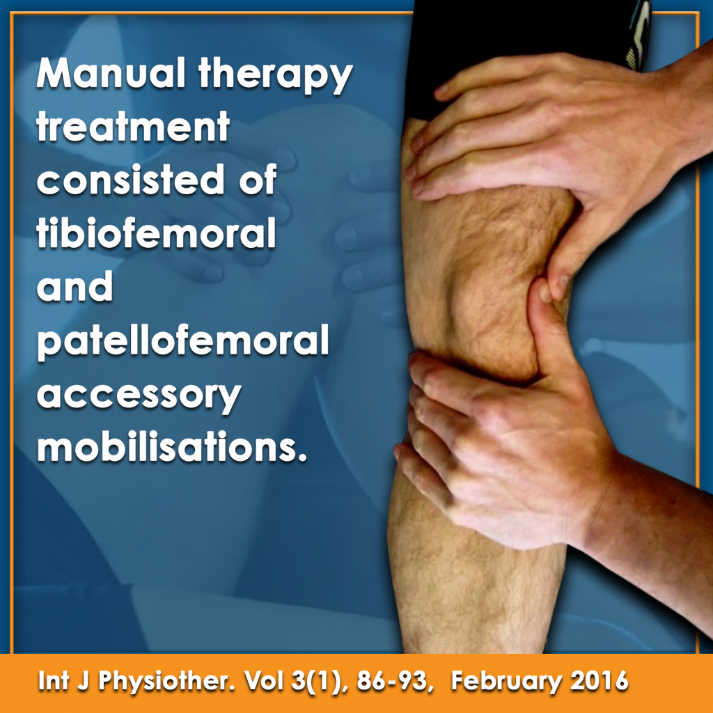 Manual therapy treatment consisted of tibofemoral and patellofemoral accessory mobilisations research article
