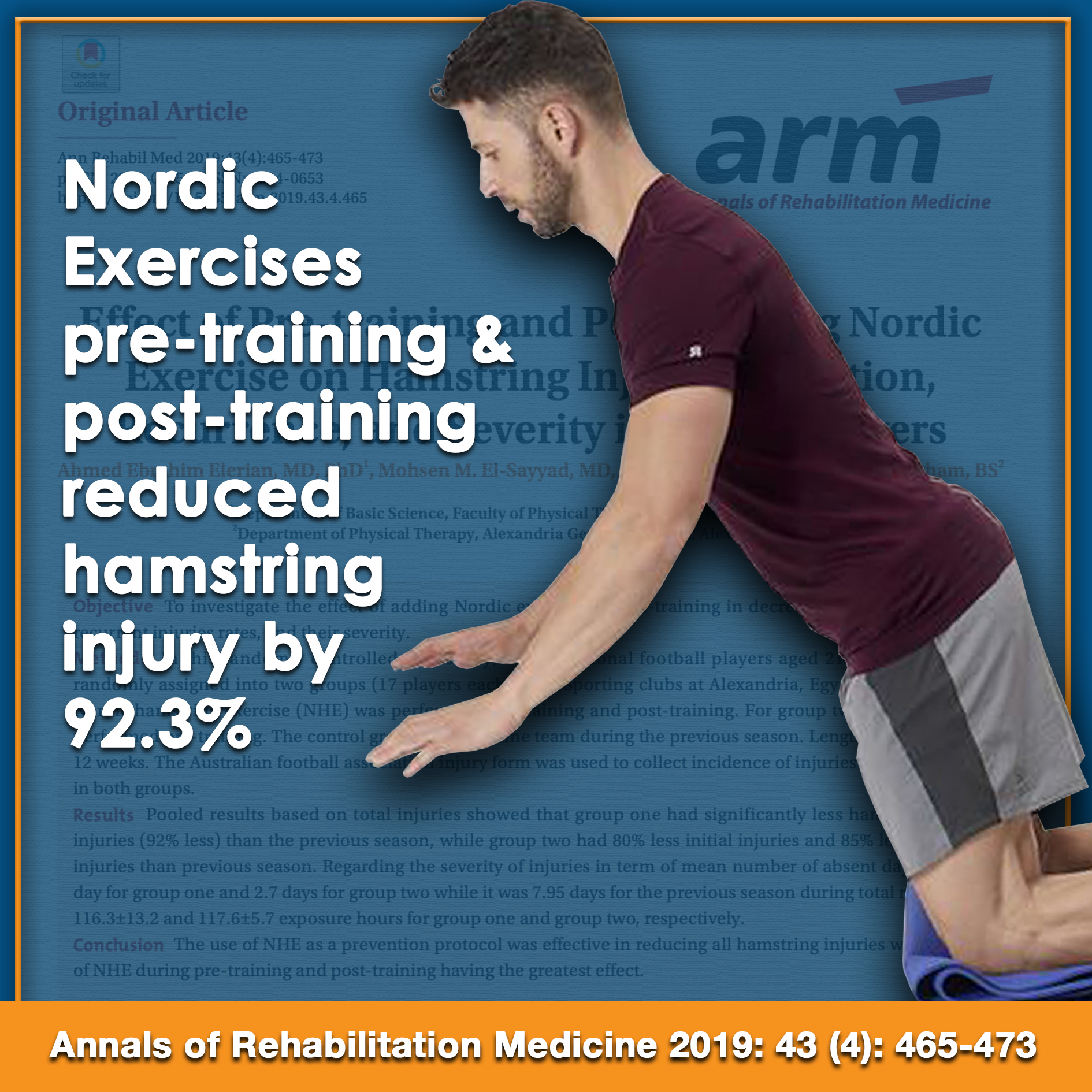 The Effect of Pre-training and Post-training Nordic Exercise on Hamstring Injury Prevention, Recurrence and Severity in Soccer Players.